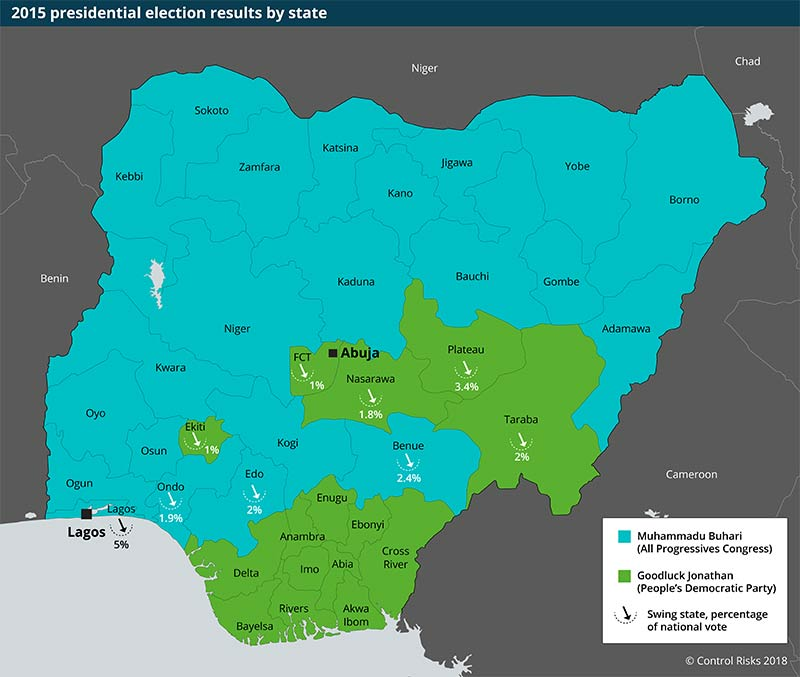 Nigeria election results by state map