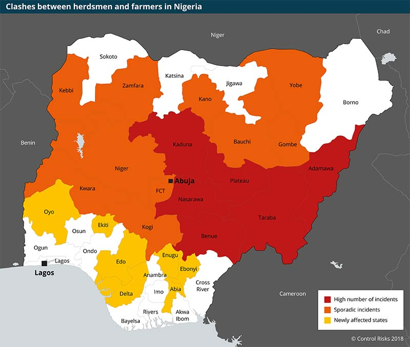 Nigeria Fulani violence map