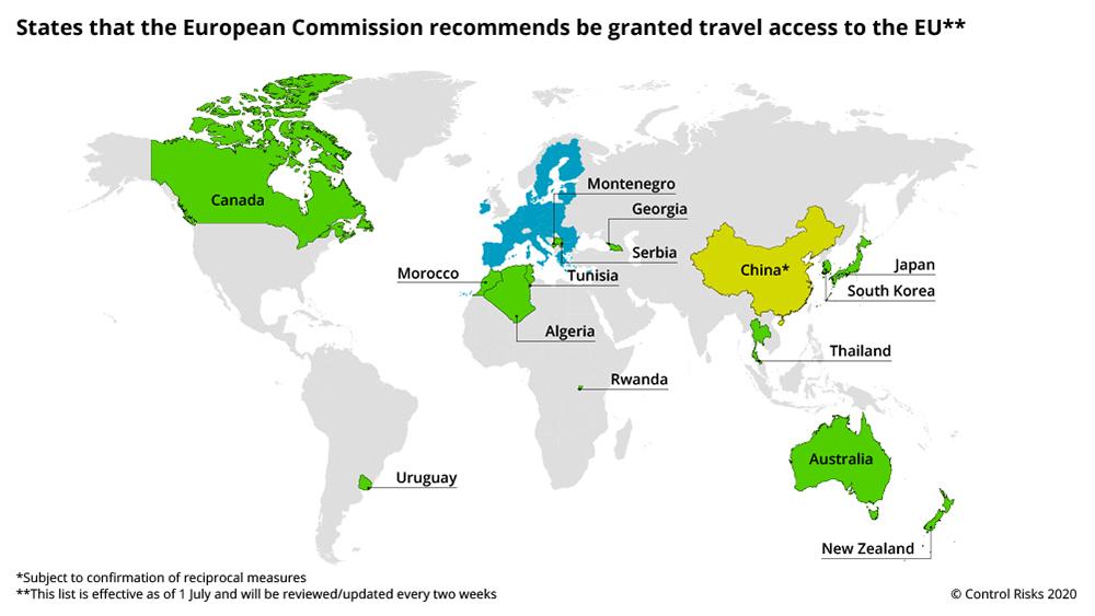 EU travel access map