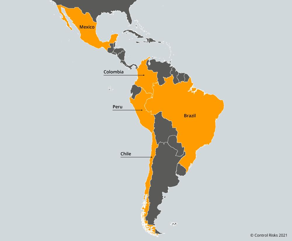 Latin Americas key markets map