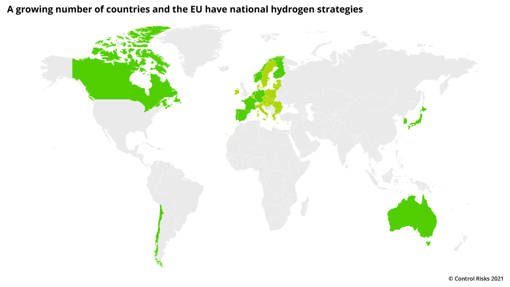 A growing number of countries have national hydrogen strategies