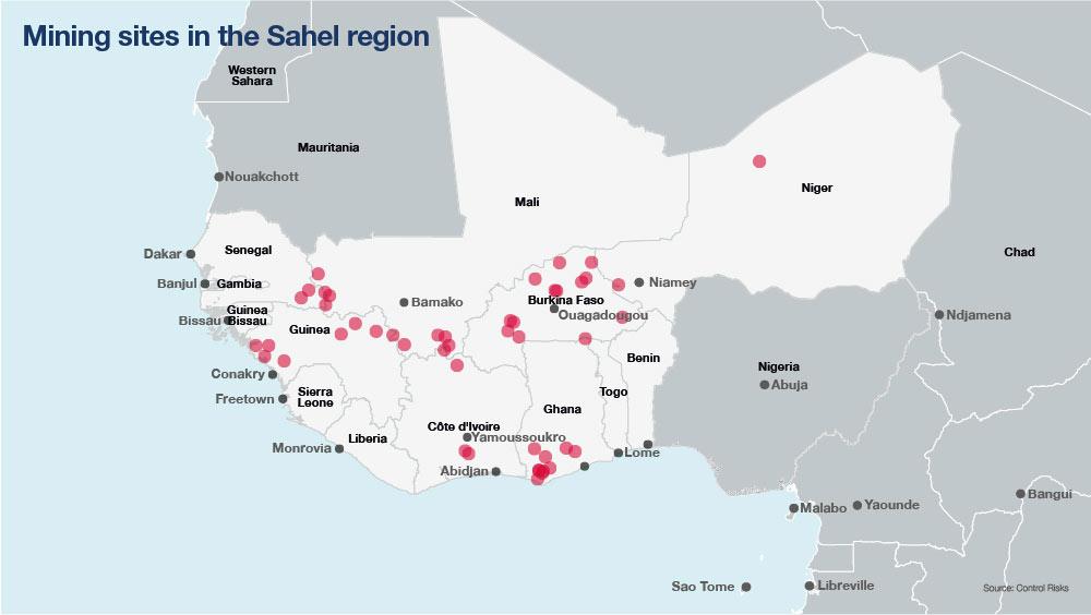 Mining sites in Sahel