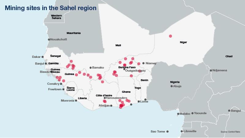 Mining sites in the Sahel region
